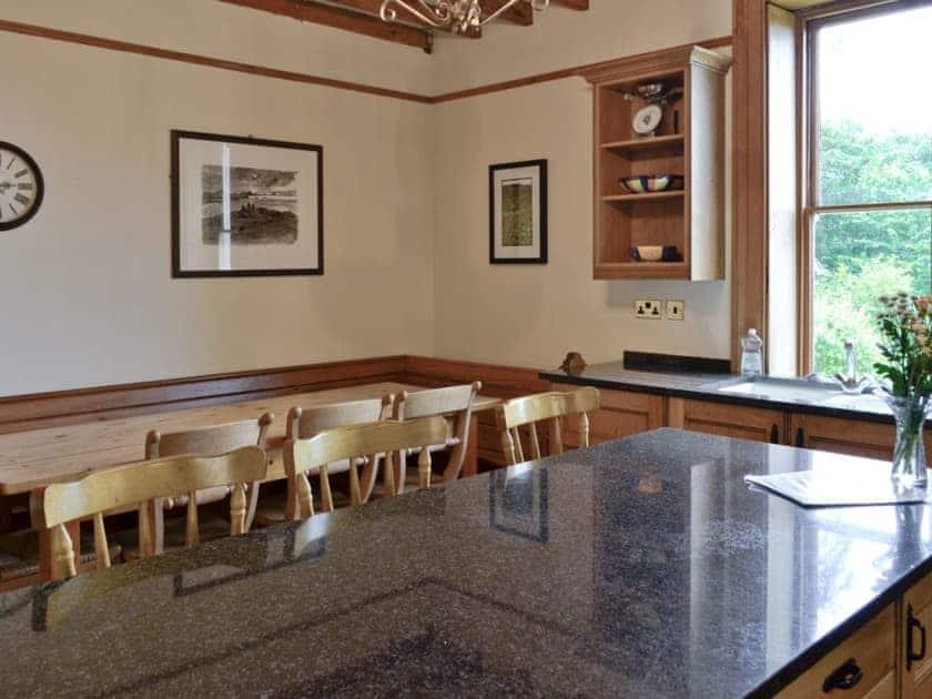 Breakfast bar and dining room in kitchen   Bryn Rhydd, Maenan, near Llanrwst