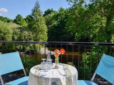 Peaceful balcony overlooking the beautiful River Cree | Riverside, Newton Stewart