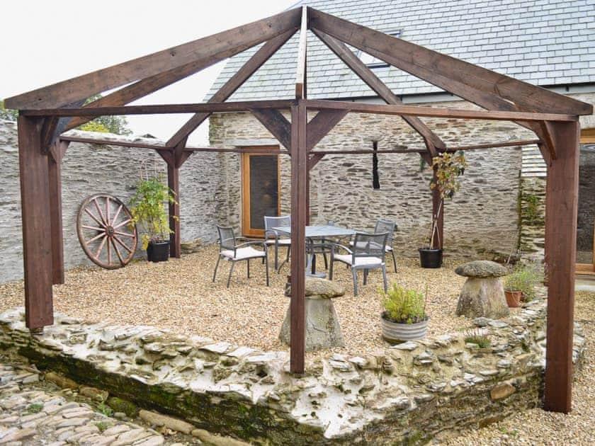 Sitting-out-area   The Threshing Barn, Patchole, Kentisbury, Barnstaple