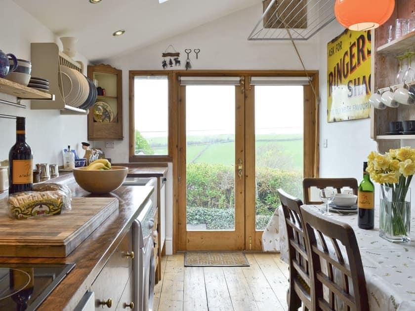 Galley style kitchen with patio doors to garden | Brynhoreb, New Cross near Aberystwyth