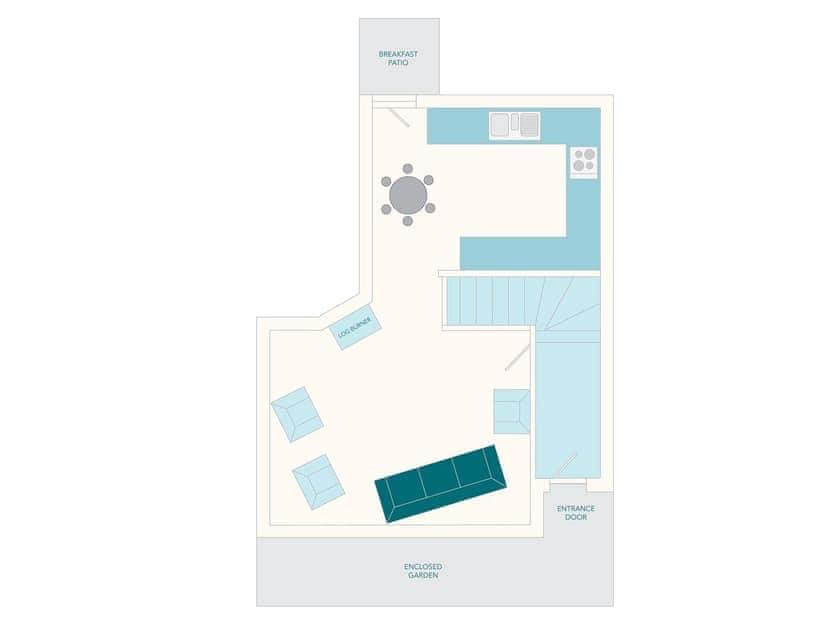 Millbourne Cottage Floor Plan - Ground Floor | Tuckenhay Mill - Milbourne Cottage, Bow Creek, between Dartmouth and Totnes