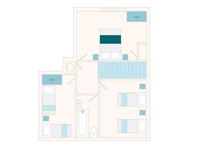 Millbourne Cottage Floor Plan - First Floor | Tuckenhay Mill - Milbourne Cottage, Bow Creek, between Dartmouth and Totnes