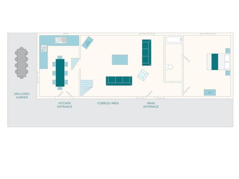Edgecombe Barn Foor Plan - Ground Floor | Tuckenhay Mill - Edgecombe Barn, Bow Creek, between Dartmouth and Totnes