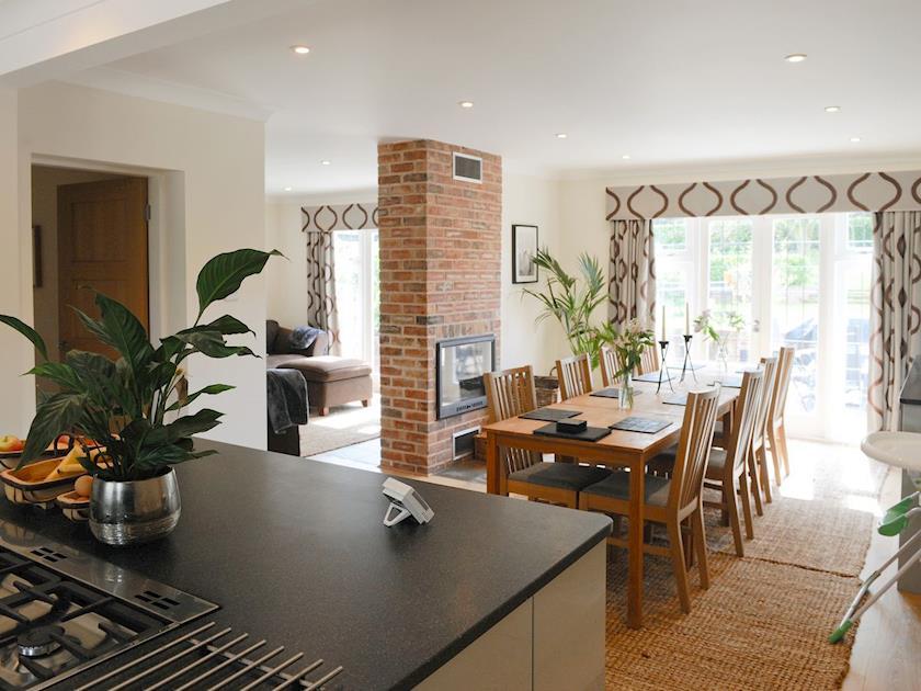 Large open kitchen/ diner with wood burner   Lambley Lodge, Lowdham