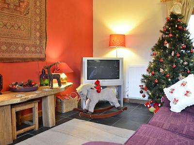 Cosy living area traditionally decorated for the festive season | Siop Shoni Bric-a-moni - Pentre Bach, Blaenpennal, Aberystwyth